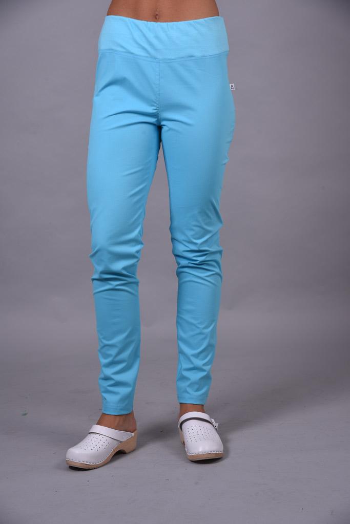 Spodnie medyczne damskie elastan kolor Turquoise